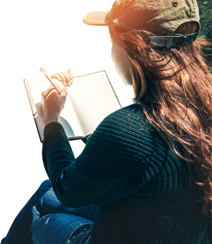 woman writing the notebook