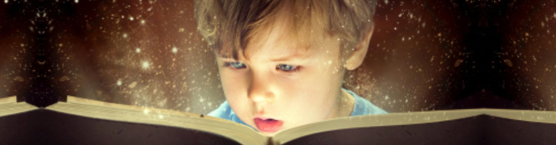 little kid reading a book